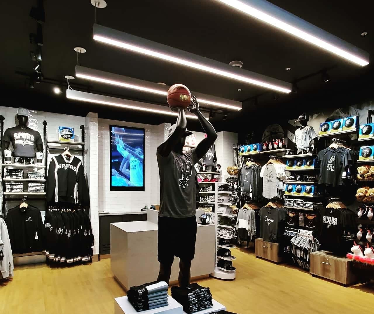 Retail store for San Antonio spurs showing items for sale