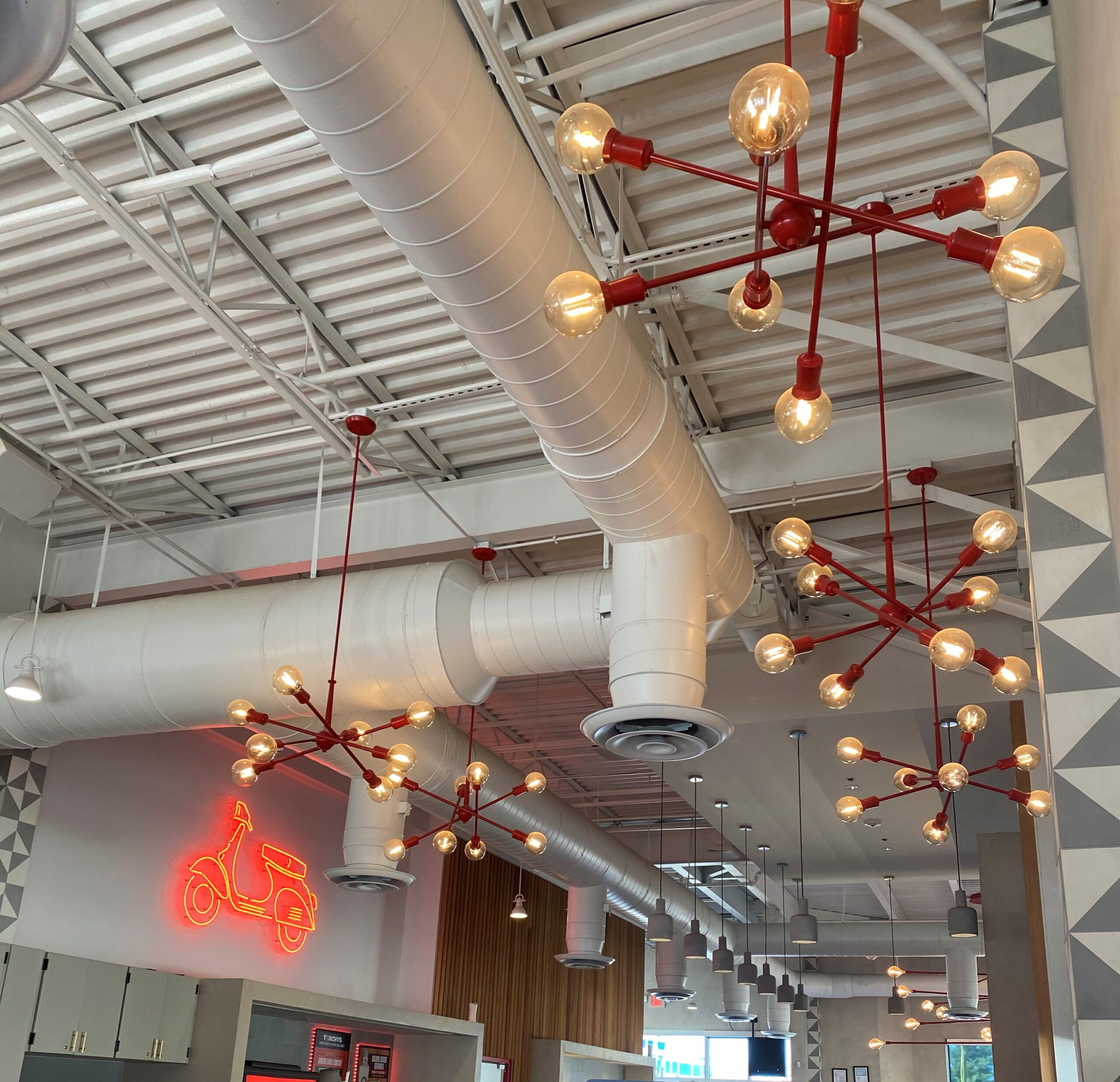 Ceiling lighting for Torchy's Tacos